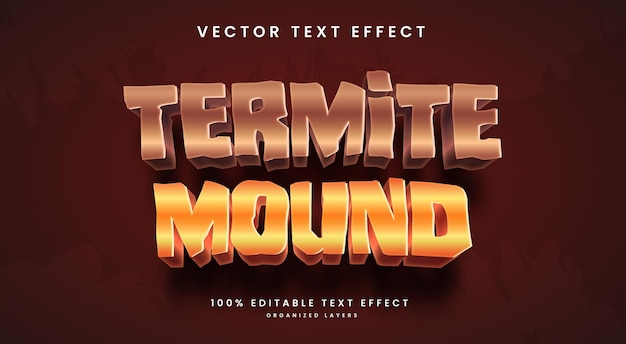 Editable text effect in termite mound style premium vector