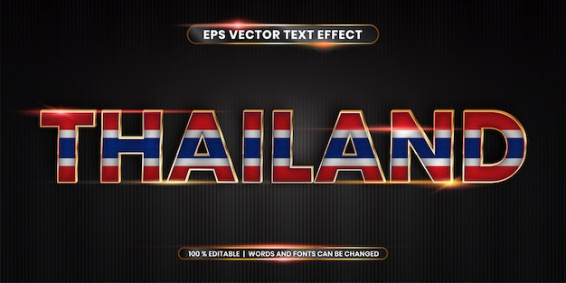Editable text effect, thailand word with national flag