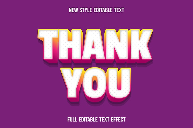 Editable text effect thank you color white and yellow pink