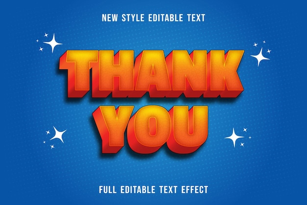 Editable text effect thank you color yellow and orange