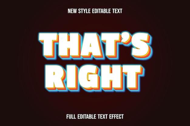 Редактируемый текстовый эффект правильного цвета: белый, оранжевый и синий