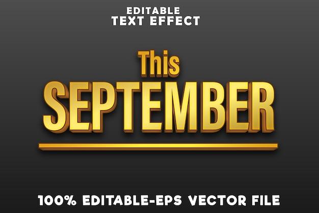 編集可能なテキストは、シンプルなゴールドスタイルでこの9月に効果を発揮します