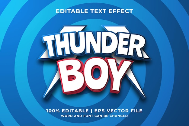 편집 가능한 텍스트 효과 - thunder boy 템플릿 스타일 프리미엄 벡터