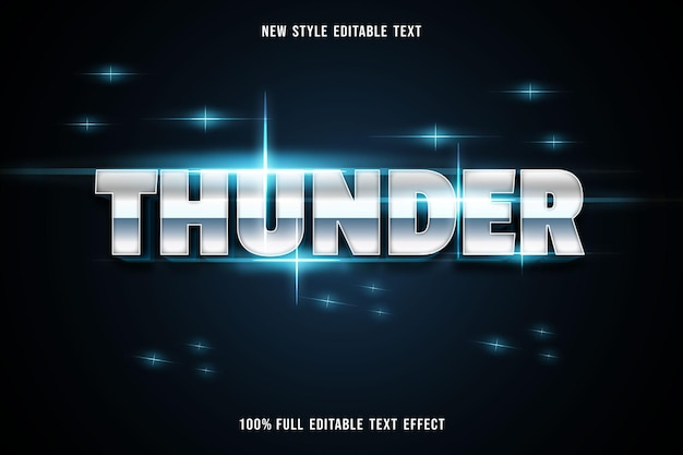 Editable text effect thunder color gray and black
