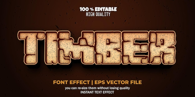 Editable text effect timber style