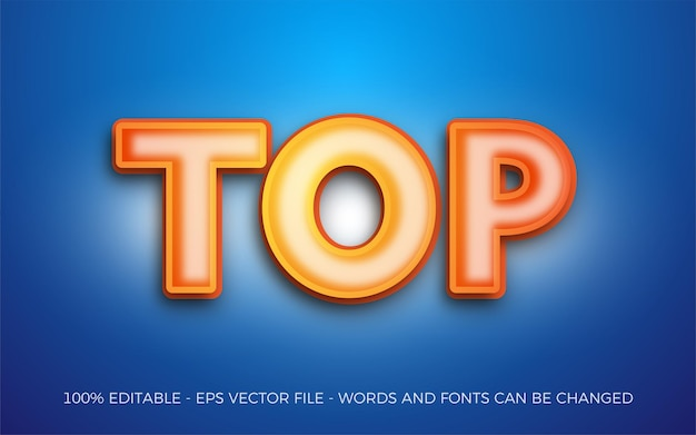 Editable text effect, top style illustrations