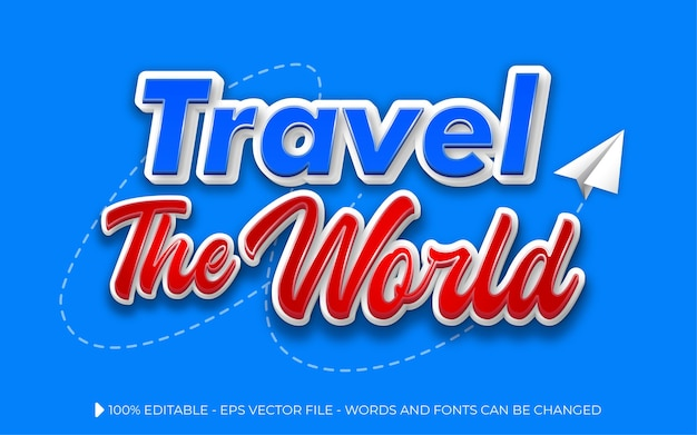 Editable text effect travel the world style illustrations