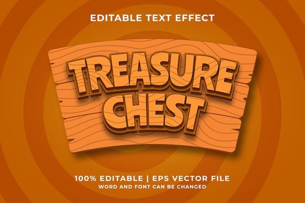 Editable text effect - treasure chest 3d template style premium vector