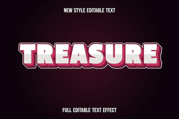 Editable text effect treasure color white and red gradient