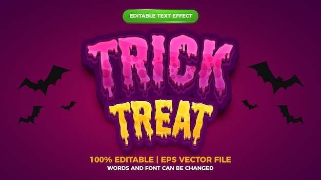 Editable text effect - trick or treat halloween comic cartoon game template style