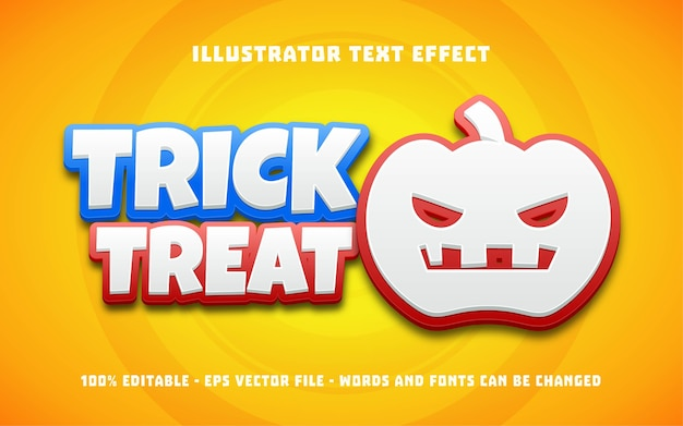 Editable text effect, trick or treat style illustrations