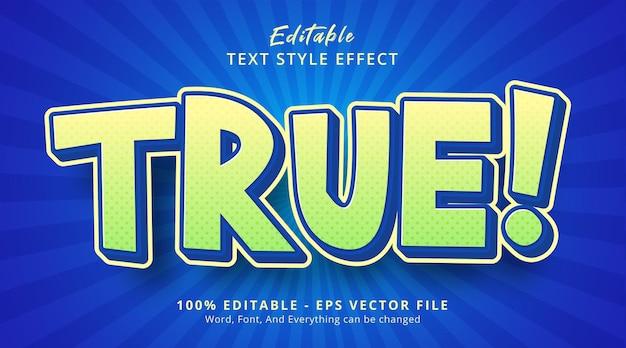 편집 가능한 텍스트 효과, 인기 있는 만화 색상 스타일의 실제 텍스트