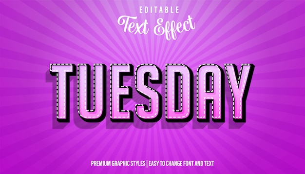 Editable text effect, tuesday strong bold font style
