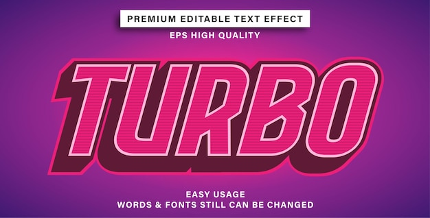 Editable text effect turbo style