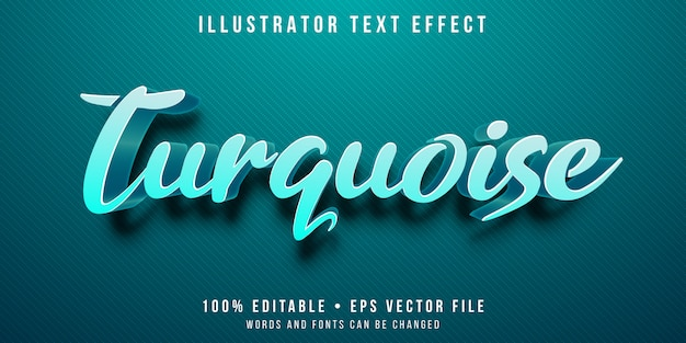 Editable text effect - turquoise color style