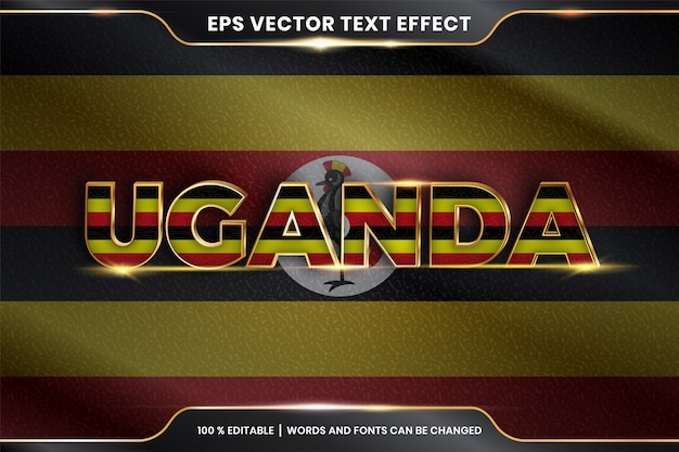 Editable text effect - uganda with its national country flag