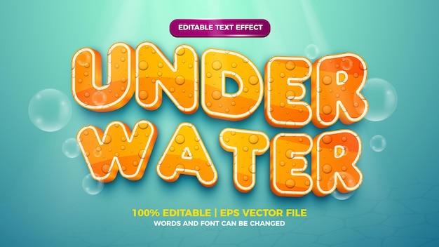 Редактируемый текстовый эффект - милый 3d-шаблон в мультяшном стиле под водой на фоне глубокого моря