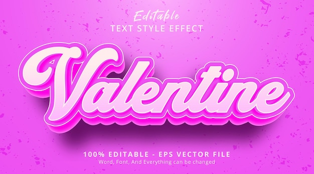Editable text effect, valentine text on pink color style effect