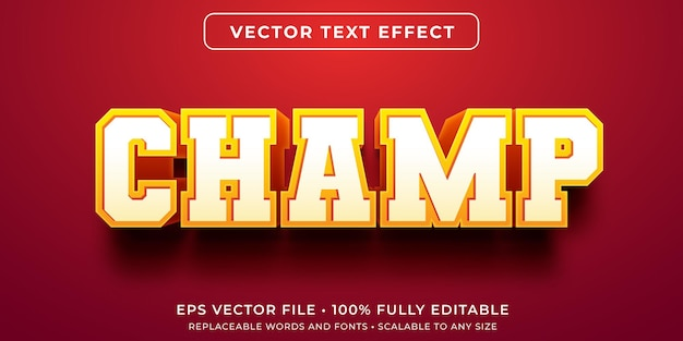Editable text effect in varsity champion style