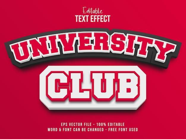 Редактируемый текстовый эффект вектор университетский клуб текстовый эффект стиль