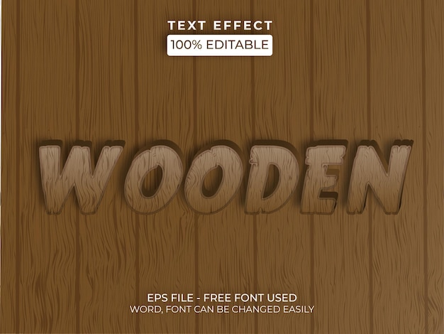 Editable text effect vector wooden text effect style