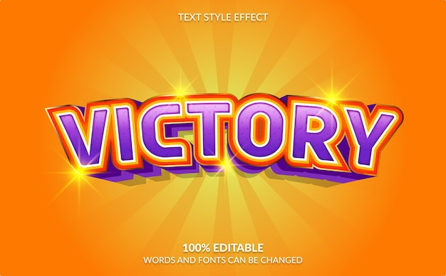 Editable text effect, victory text style