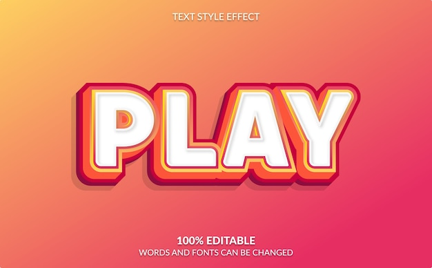 Editable text effect, video game, play text style