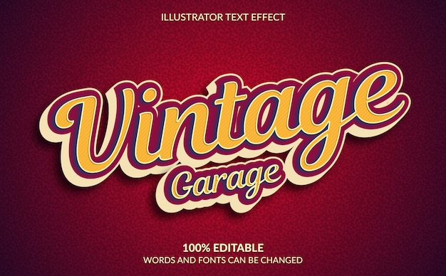 Editable text effect, vintage garage text style