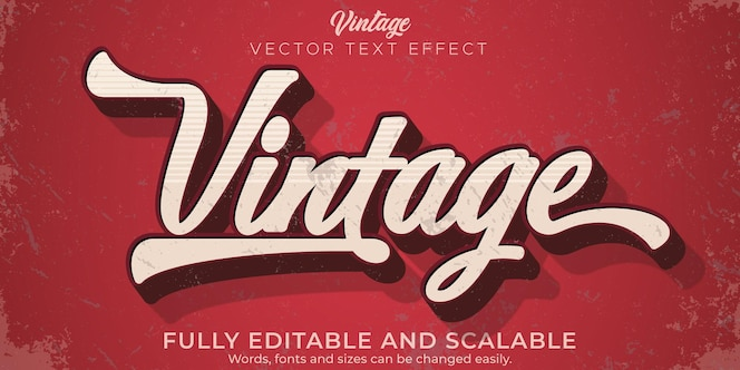 Editable text effect vintage retro text style