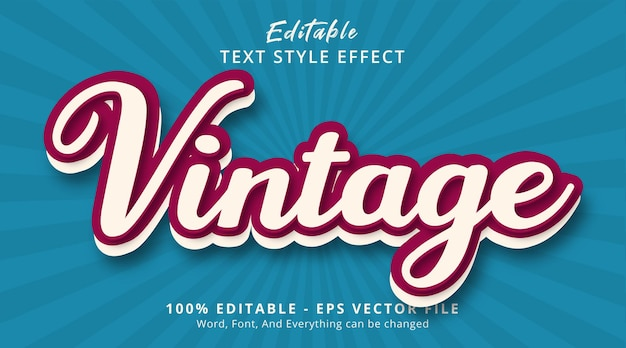 Editable text effect, vintage text on classic vintage color style effect