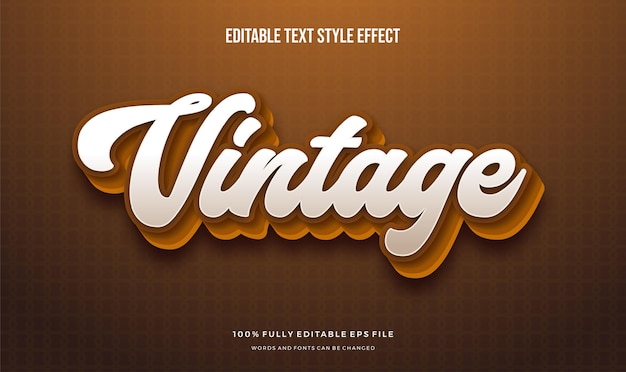Editable text effect vintage theme with brown color.