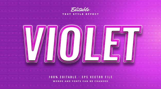 Editable text effect in violet with modern and futuristic style