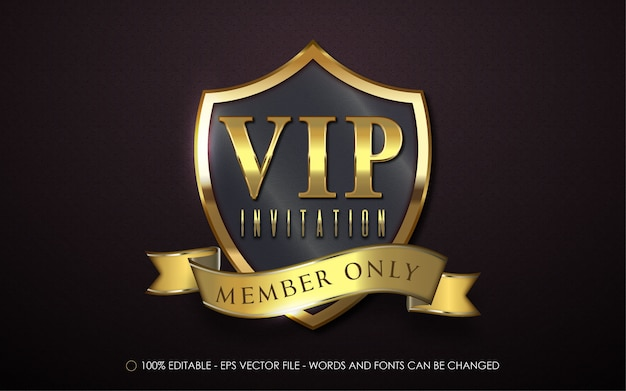 Editable text effect vip invitation style illustrations