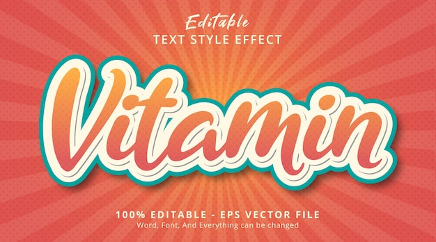 Editable text effect, vitamin text on fresh fruit color style effect