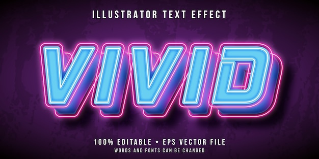 Editable text effect - vivid neon lights style
