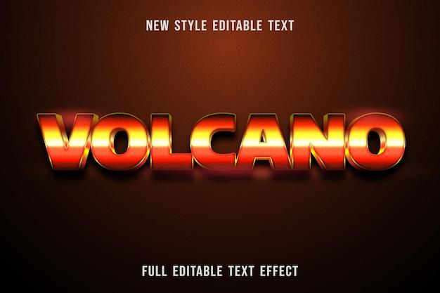 Редактируемый текстовый эффект вулкана цвет оранжевый желтый и черный