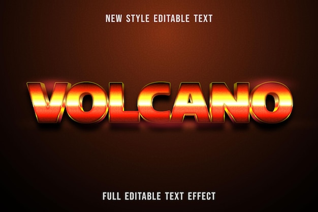 Editable text effect volcano color orange yellow and black
