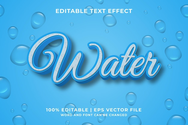 Editable text effect - water cartoon style 3d template premium vector