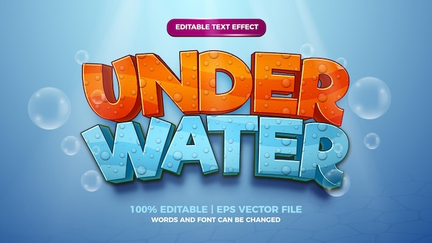 Editable text effect - under water cute cartoon style 3d template on deep sea background