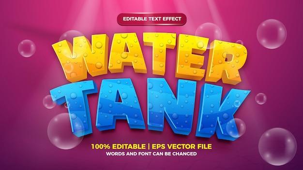 Editable text effect - water tank cartoon style 3d template on deep sea background