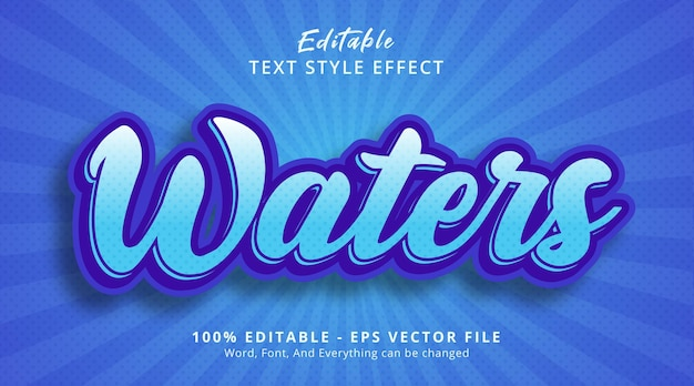 Editable text effect, water text on light blue color style effect