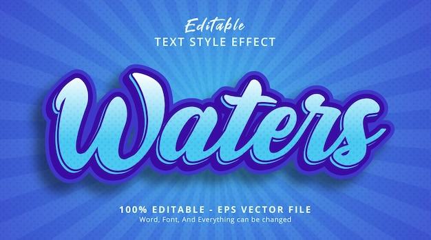 편집 가능한 텍스트 효과, 연한 파란색 스타일 효과의 물 텍스트
