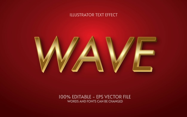 Редактируемый текстовый эффект, иллюстрации в стиле wave gold