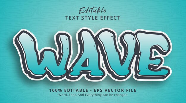 Editable text effect, wave text on tosca color combination style effect