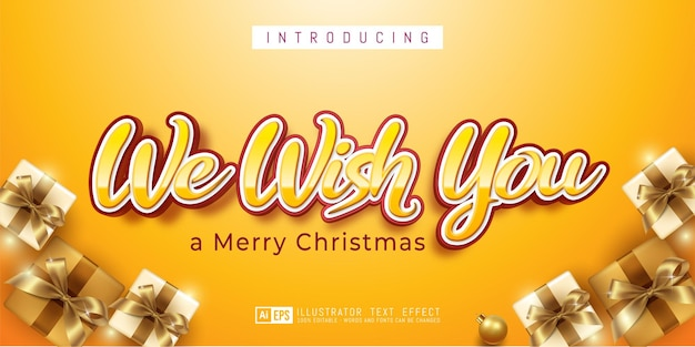 Editable text effect we wish you 3d style suitable for christmas banner