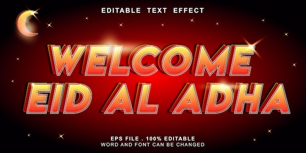 Editable text effect welcom eid al