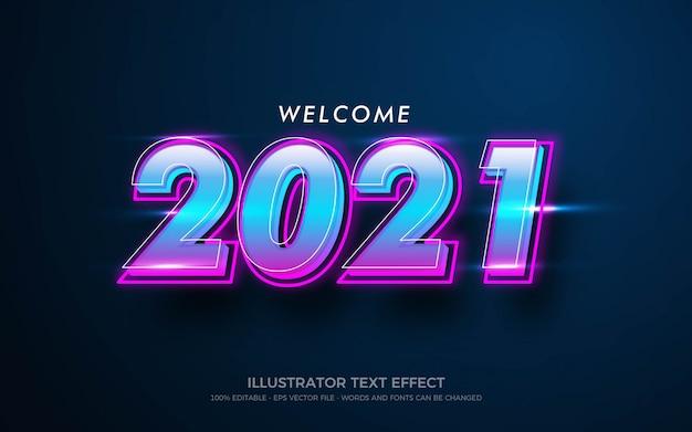Редактируемый текстовый эффект, добро пожаловать 2021 стиль иллюстраций