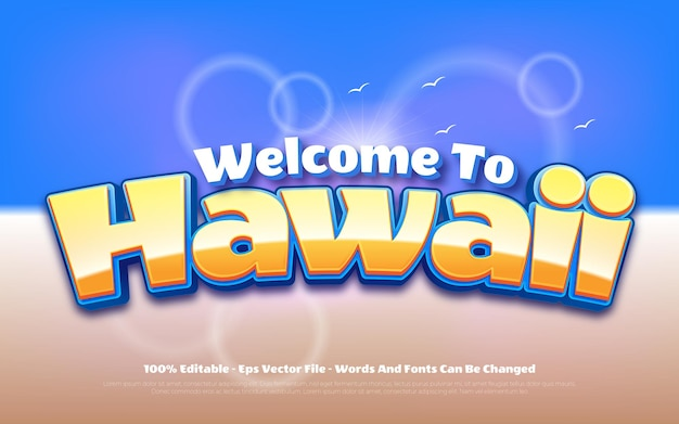 Editable text effect welcome to hawaii style illustrations