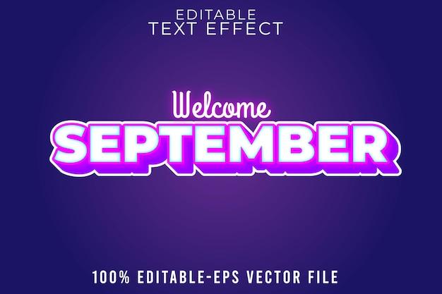 編集可能なテキスト効果は、新しいグロースタイルで9月を歓迎します