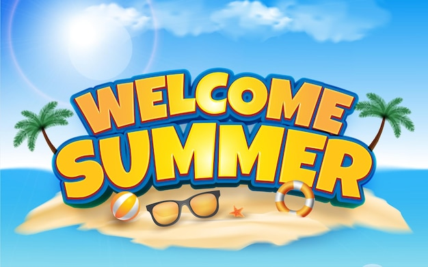 Editable text effect welcome summer 3d style illustrations